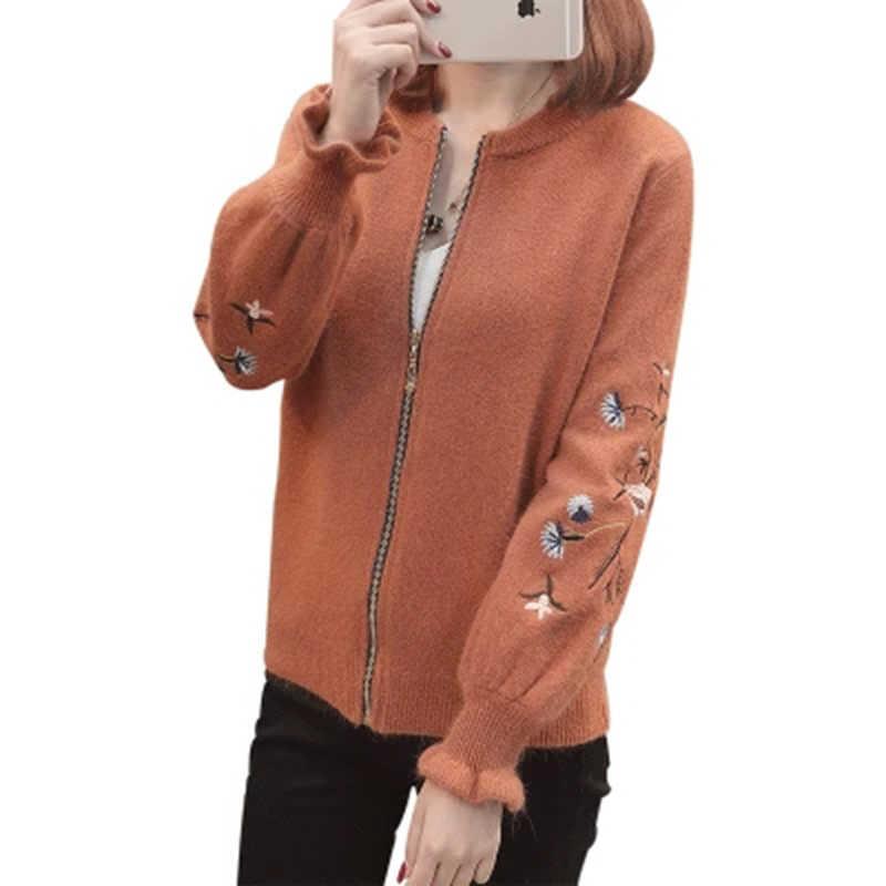 2018 осень-зима Для женщин вышитые вязаный свитер Кардиган Леди О-образным вырезом с рукавом-бабочкой вязаный свитер пальто с застежкой-молнией F549
