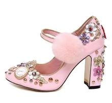 Fashion pink leather Mary Janes shoes bling bling crystal embellished thick heels pumps for woman ankle strap pom pom heels