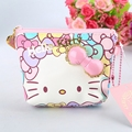 Hello Kitty Classic Cat Coin Purse High quality PU Fashion Change Purse pink zipper Can put a photo