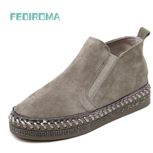 Top Quality Genuine Leather Flat Martin Ankle Boots Autumn Shoes Women Rhinestone Trim Women Winter Cow Leather Boots Shoes