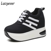 Lucyever Women Casual Shoes Height Increasing Platform Wedges Shoes Woman Autumn Winter Lace Up High Top