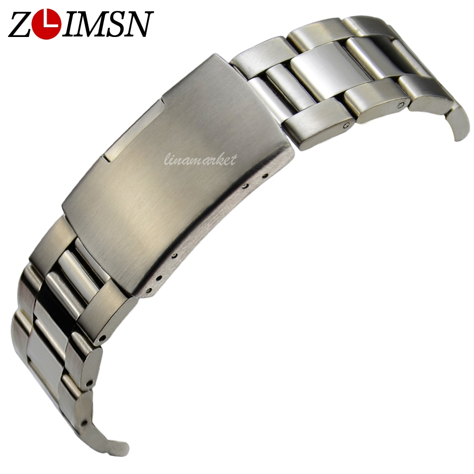 ZLIMSN Silver Watch Straps Stainless Steel Watch Bracelet Deployment Clasp Watchbands 18mm 20mm 22mm 24mm Belt Replacement S13 цена и фото