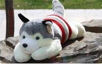 stuffed animal plush 50cm lying sweater husky dog plush toy w1615