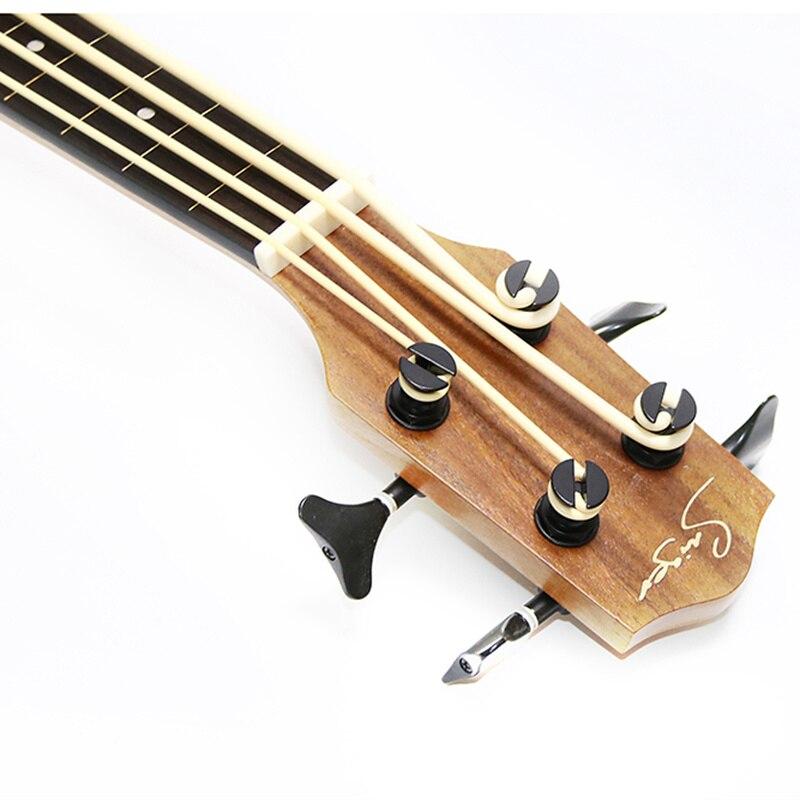 Guitare électrique en Acacia massif ukulélé basse Fretless 30 pouces Ubass 30 pouces 4 cordes Mini UKU guitare électro pick-up Sculpture - 2