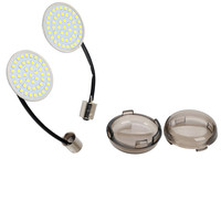 2x 2'' 1156 White LED Turn Signal Inserts W/ Lens Cover For Harley Electra Glide Breakout Sportster 1200 883 Touring
