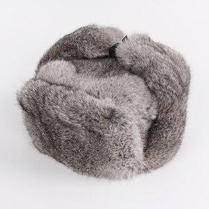 Image 2 - Nowy rosyjski zima Unisex prawdziwe królik futro bombowiec kapelusz mężczyźni ciepłe 100% naturalne futra królika kapelusze męskie pełna Pelt futro czapka z futra królika