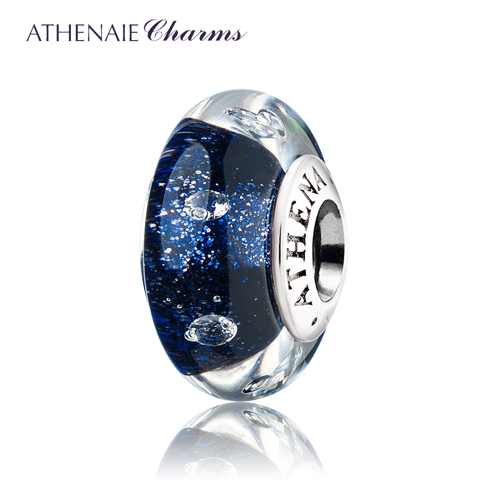 ATHENAIE Charms Beads Genuine Murano Glass 925 Silver Core Blink Dark Blue Sand Clear CZ Charms Fit European Bracelets Necklace