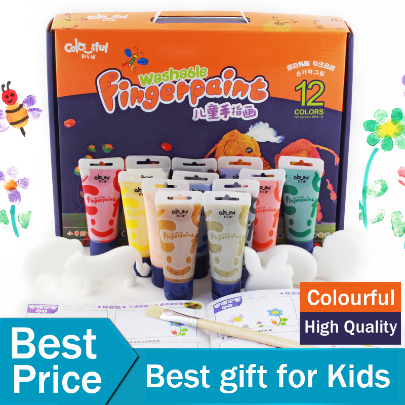 лучшая цена New Wonderful Washable Water Color Kids paint Finger painting 12 Colors set