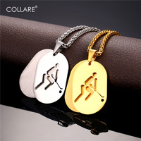Sports Hockey Dog Tag For Men Jewelry Pendent Necklace 18K Gold Plated Stainless Two Layer Necklace