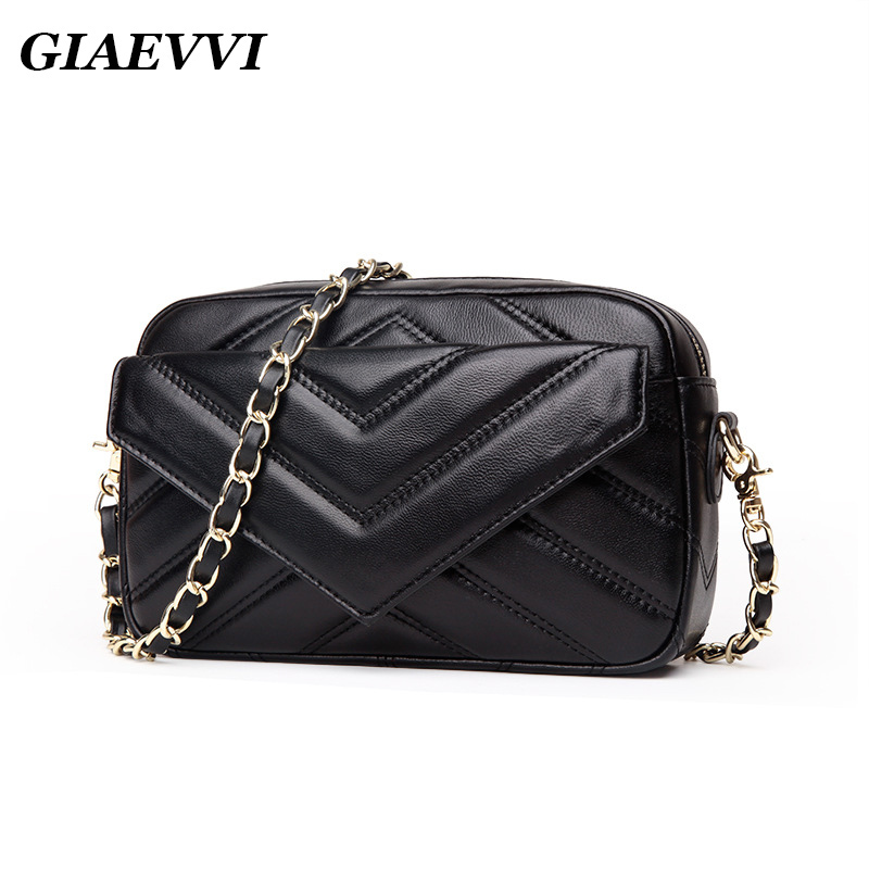 GIAEVVI luxury 2018 women handbag small genuine leather fashion designer shoulder bag women messenger bags chain crossbody bag 2017 women bag cowhide genuine leather fashion folding handbag chain shoulder bag crossbody bag handbag party clutch long wallet