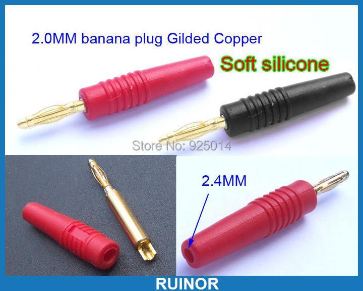 8 PCS 2 mm Banana Plug silicone Gold for Test Probes 2.0mm socket Binding Post цены