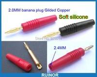 8 adet 2 mm banana fiş silikon için altın test probları 2.0mm soket bağlama sonrası
