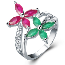 Trendy Double Color Synthetic crystal Big Flower Silver Color Geometric Finger ring For Women Luxury Engagement Jewelry Ague