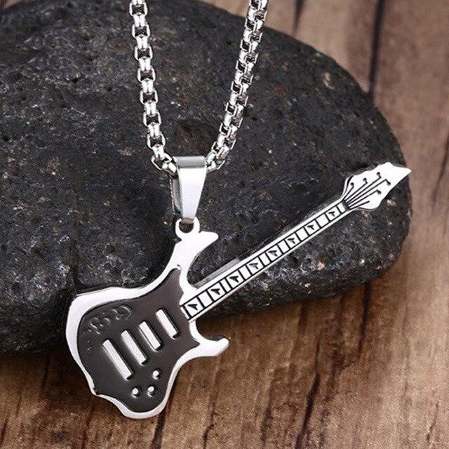8576b6daf2e8 Bijouterie Acero inoxidable negro plata-tono Guitarras colgante collar para  hombres punk rock joyería con