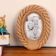 Овальная 4 ''x 6'' Ретро стильная пеньковая веревка деревянная рамка для фотографий