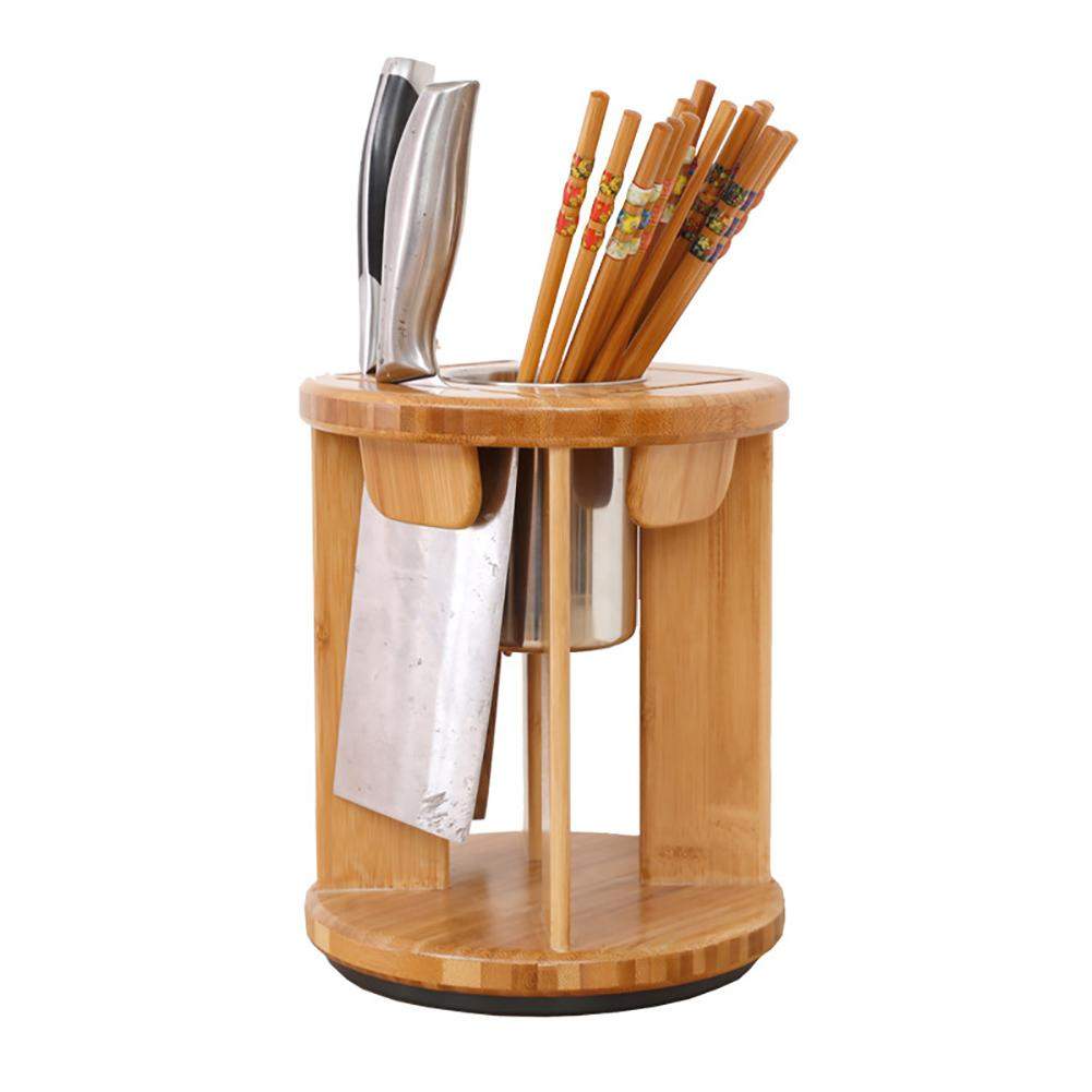 Durable Easy To Use Rotary Kitchen Storage Holder Knife Chopsticks Spoon Stand Ventilated Knives Organizer