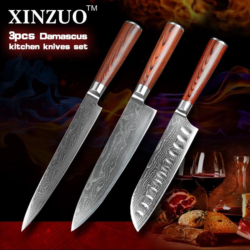 XINZUO 3 pcs kitchen font b knife b font set japanese chef cleaver font b knives