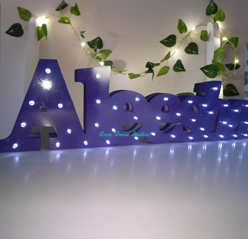 Baby name Bespoke luxury gift Light up letters bespoke light up name Birthday Aleesha with LED lights Bedroom decoration