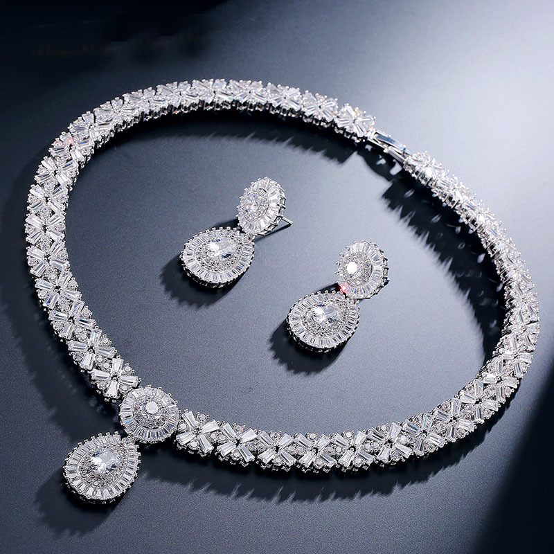 Wedding Earrings White Gold: White Gold Color Luxury Bridal CZ Crystal Necklace And