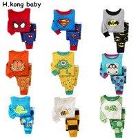 Children Pajamas Set Kids Baby Girl Boys Cartoon Casual Pajamas Infantil Kids Spiderman BatMan Pyjamas Sleepwear