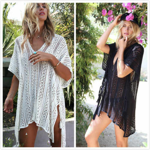 Swimwear Women Bikini Crochet Knitted Tassel Tie Beachwear Summer Swimsuit Sexy See-through Beach Dress Bathing Suit Cover Ups