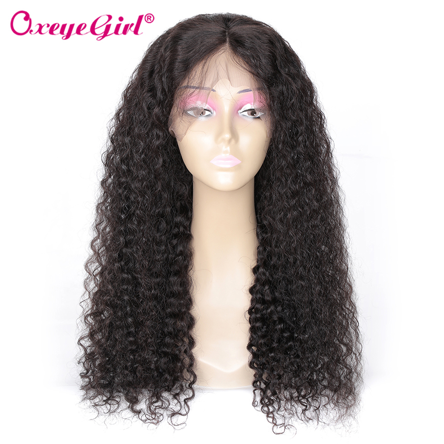 Oxeye girl Brazilian Hair Kinky Curly Wig 250 Density 13x6 Lace Front Wig Remy Pre Plucked