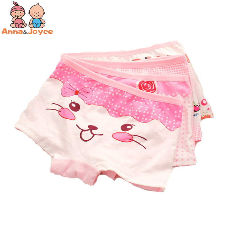 4Pcs/lot Girls Boxer Gift Children Boxer Underwear Girl Panties Cotton Cartoon Underwear Suit 90-135cm