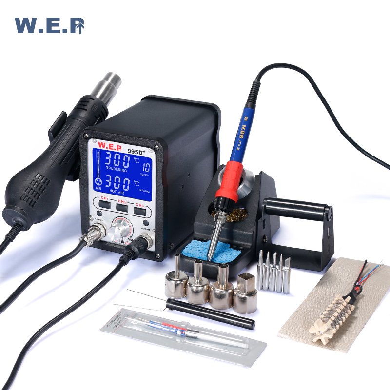 WEP 995D+ High Precision LCD Soldering Station Motherboard Desoldering SMD Rework Station With Pluggable Hot Air Gun