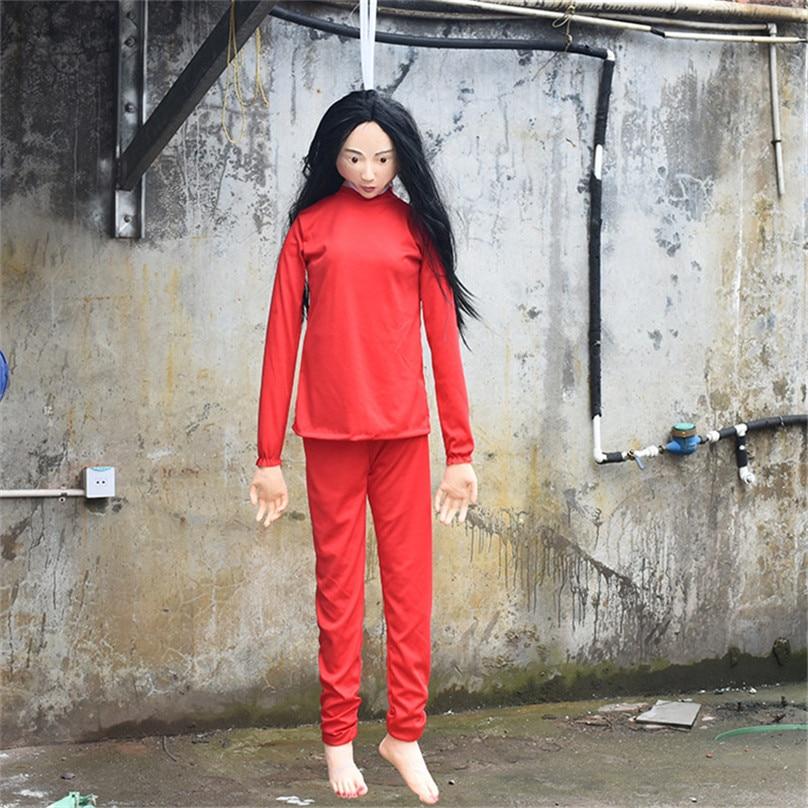 Effrayant Latex Zombie mal séché cadavre effrayant fantôme corps horreur femme fantôme avec tissu rouge fantasmagorique poupées Halloween décor ornements