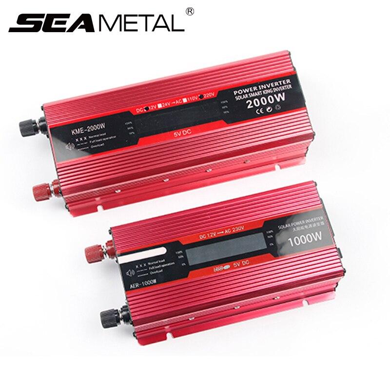 Voiture onduleur 12 v 220 v Auto onduleurs 12 à 220 pour 2000 W transformateur convertisseur de tension Inversor chargeur adaptateur solaire 1000