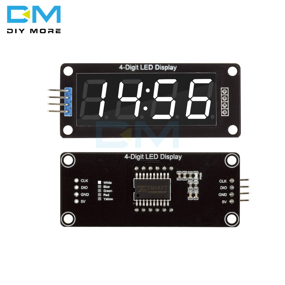 TM1637 4-Digit Digital LED 0.56 Display Tube Decimal 7 Segments Clock Double Dots Module 0.56 Inch White Display For Arduino