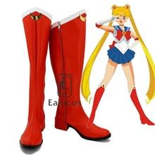 Новый Аниме Сейлор Мун Девушки Красный Косплей Партия Обуви Сапоги Индивидуальные Размер