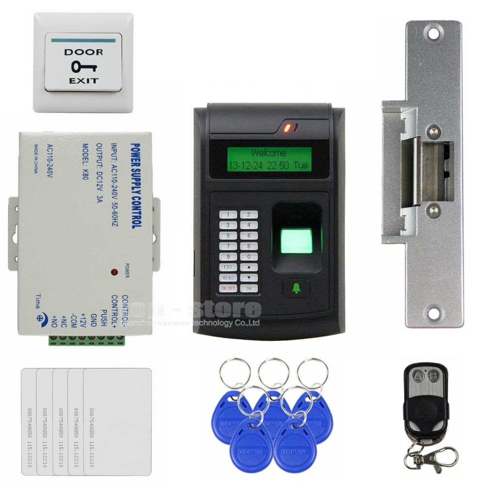 DIYSECUR Remote Control 125KHz RFID LCD Fingerprint Keypad ID Card Reader Access Control System Kit + Electric Strike Lock diysecur magnetic lock door lock 125khz rfid password keypad access control system security kit for home office