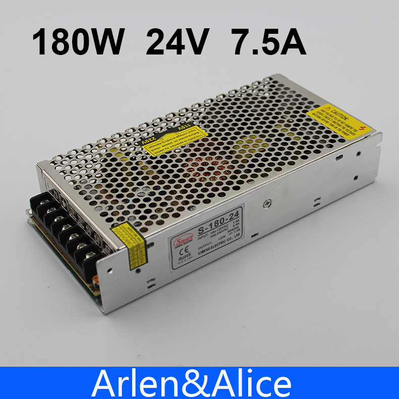 180W 24V 7.5A Single Output Switching power supply for LED Strip light AC to DC free shipping 35w 24v 1 5a single output mini size switching power supply for led strip light ms 35 24