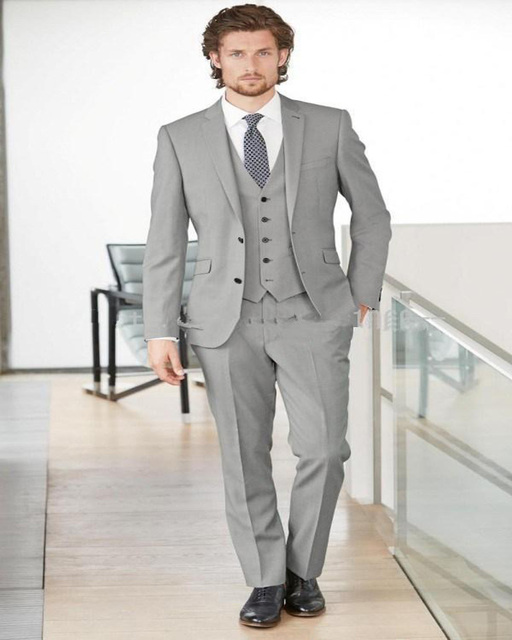 Custom Made Light Grey Wedding Suit Two Buttons Peaked Lapel Groom ...