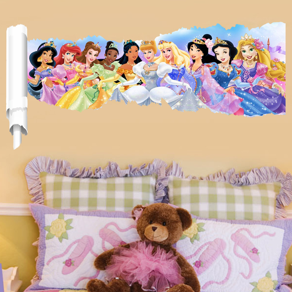 Cartoon Princess Wall Stickers For kids Room Snow Girl 3d Kids Wall ...