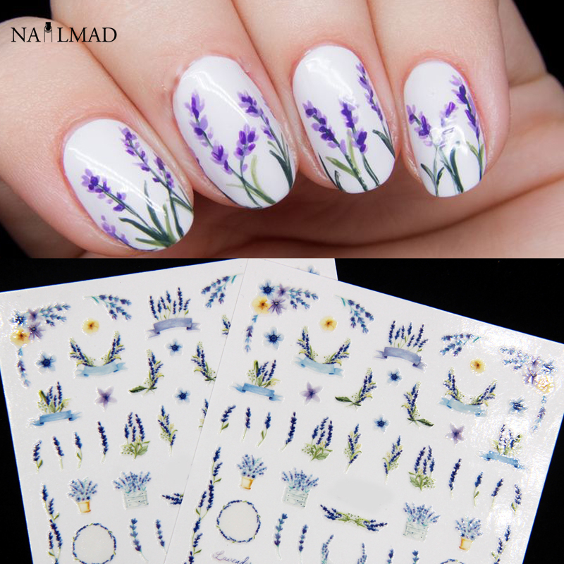 1sheet Nail MAD Lavender Blossom Nail Stickers Dried Flower Nail Art Adhesive 3D Stickers 1sheet 6pcs 3d nail art sticker golden stripe heart houndstooth patterned 1sheet