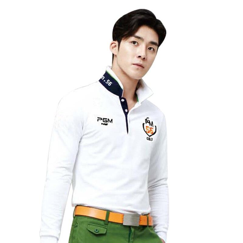 b41eb8e80 PGM New Men Long Sleeve Top Polo Shirt Golf Sportwear ropa de golf Slim  Tennis Tshirt Breathable White Navy Blue Dry Fit 2018