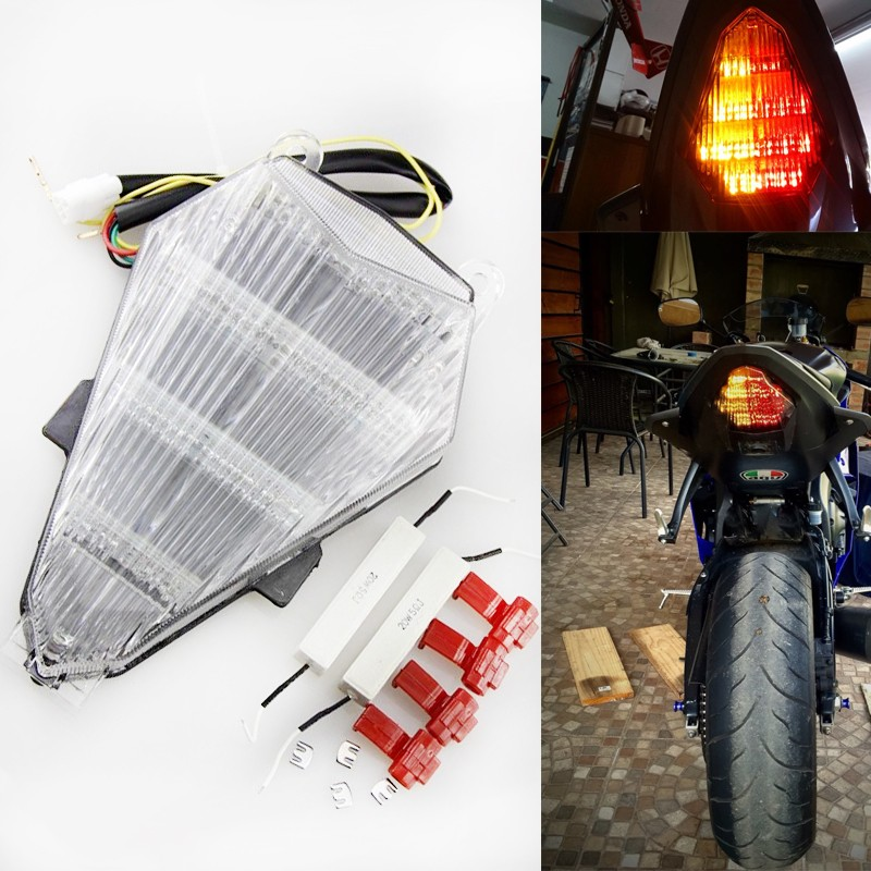 Aftermarket free shipping Motorcycle Led Tail Light For 2006 2007 2008 2009 2010 2011 2012 2013 Yamaha Yzf R6 Yzf-R6 CLEAR ...