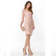 Real Wholesale Elegant Pink Lace Cocktail Dresses 2017 with Sleeves Formal Female Knee Length Prom Gowns gown de cocktail CBC1