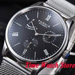 Parnis męska zegarek 42mm czarna tarcza bransoletka rezerwa chodu 5ATM ST1780 mechanizm automatyczny wrist watch mężczyźni 942 Zegarki mechaniczne Zegarki -