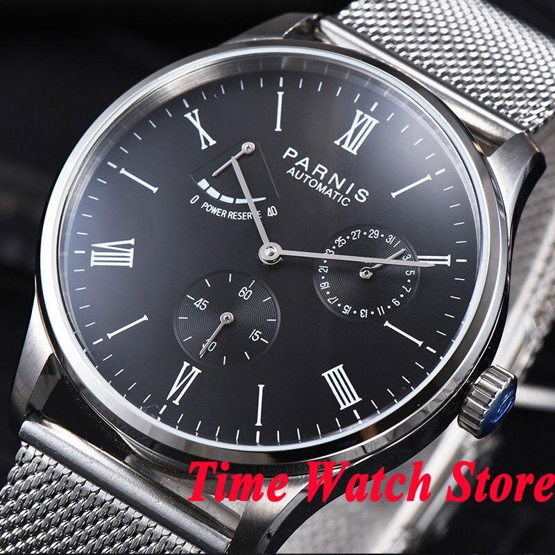Parnis men's watch 42mm black dial Bracelet Power reserve 5ATM ST1780 Automatic movement wrist watch men 942 цена и фото