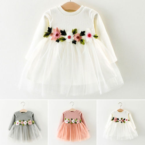 Cute  Pretty Toddler Baby Girls Dress Flower Long Sleeve Lace  Dress Princess Party Prom Tulle Dresses