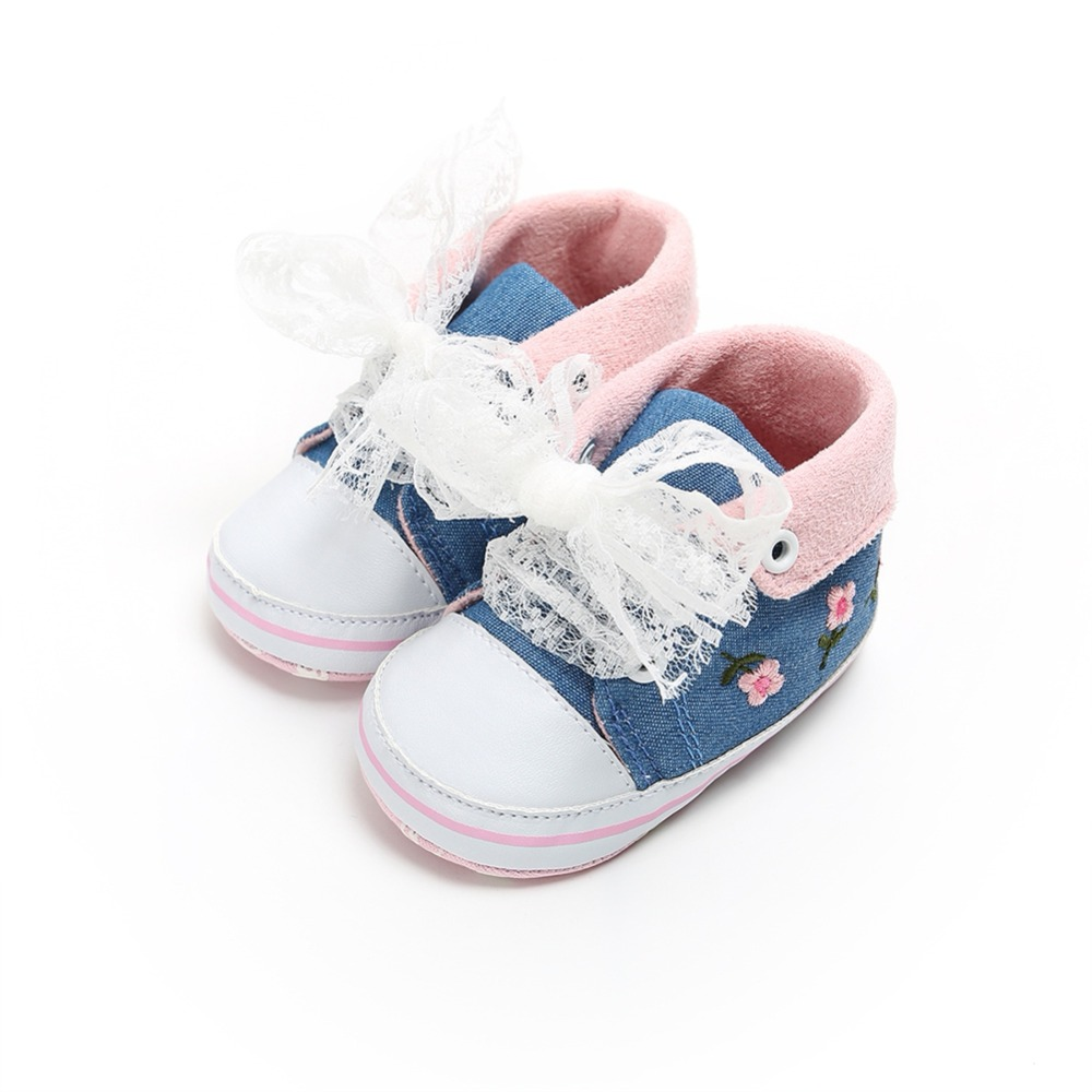 Baby First Walkers for Girls Cotton Laced Cute Embroidered Flower Soft Toddler Shoes Autumn and Winter flower baby summer baby shoes for girls soft sole cute princess elegant fashion cotton high quality baby shoes for girls 60a1071