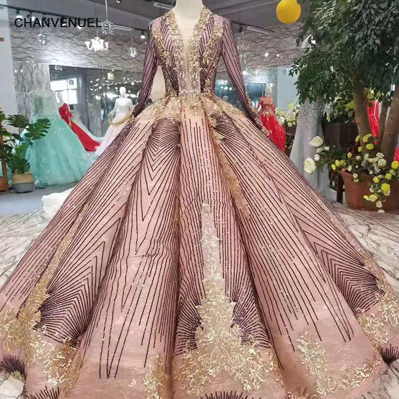 LS11105 unique patter dress women occasion blush deep v-neck ball sparkly party dress curve shape with golden lace floor length(China)