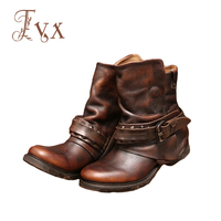 Tayunxing Genuine Leather Handmade Ankle Women Boots Western Style Personality Comfort Zipper Metal Decoration 718 19