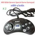 2 unids MD SEGA 16bit Gamepads Joypad controlador de Juegos de Sega Genesis 9 Agujeros Sega alta calidad buen precio