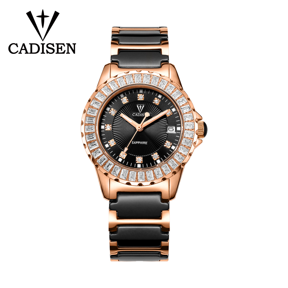 CADISEN Sapphire Crystal Woman Watch Luxury Ceramic Bracelet Japan Automatic Wristwatch Ladies Mechanical Relogio Feminino 3ATM|Women's Watches| |  - title=