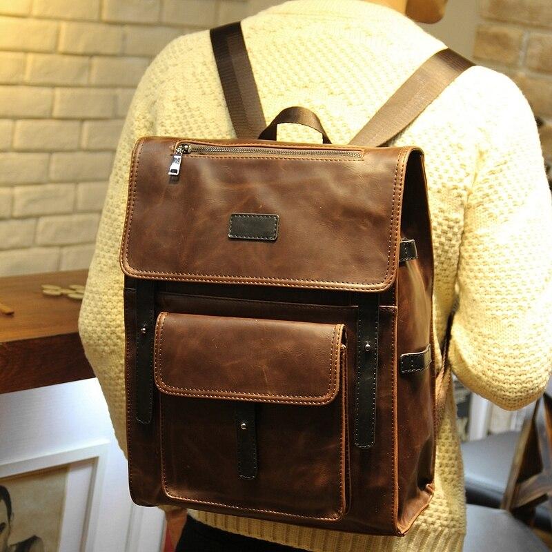 bddeb16b1 waterdance crazy horse leather shoulder bag type male bag backpack  waterdance crazy horse leather shoulder bag