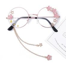 Милый кулон Сакура, прозрачное Оптическое стекло es, оправа для женщин, Круглые ретро очки для девушек, готические очки ручной работы, очки Oculos De Gafas